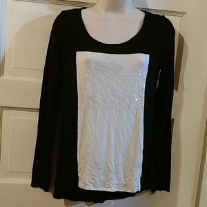 Willi Smith Long Sleeve Sequined Top S